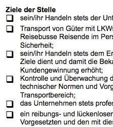 Diese Arbeitsplatzbeschreibung für eine/n Berufskraftfahrer/in ist ein Beispiel dafür, wie eine typische Interessenlage zwischen teilnehmenden Parteien umgesetzt werden kann.