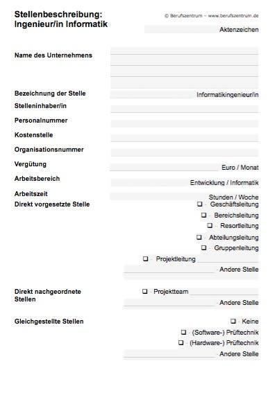 Die Stellenbeschreibung für eine/n Ingenieur/in Informatik enthält Elemente, die von Ihnen verändert bzw. angepasst werden müssen. Die Textelemente sind durch Stichwörter oder freie Stellen gekennzeichnet.