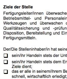 Die Arbeitsplatzbeschreibung für eine/n Leiter/in in der Fertigung ist ein Beispiel dafür, wie eine typische Interessenlage zwischen teilnehmenden Parteien umgesetzt werden kann.
