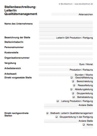 Die Stellenbeschreibung für eine/n Leiter/in Qualitätsmanagement – Fertigung enthält Elemente, die von Ihnen verändert bzw. angepasst werden müssen.