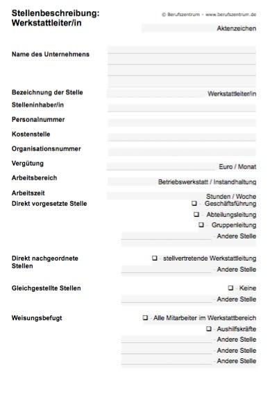 Die Stellenbeschreibung für eine/n Werkstattleiter/in enthält Elemente, die von Ihnen verändert bzw. angepasst werden müssen.