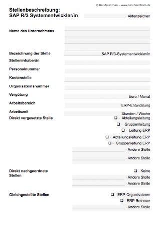 Die Stellenbeschreibung SAP-R/3-Entwickler / -Entwicklerin enthält Elemente, die von Ihnen verändert bzw. angepasst werden müssen.