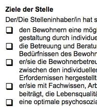 Diese Stellenbeschreibung für eine/n Sozialarbeiterin/er ist ein Beispiel dafür, wie eine typische Interessenlage zwischen teilnehmenden Parteien umgesetzt werden kann.