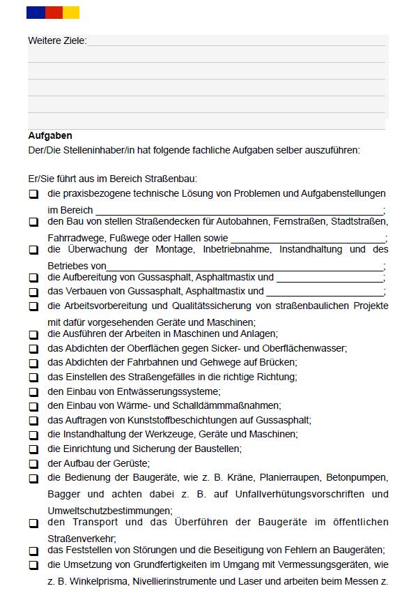 Auch die Aufgaben eines/r Straßenarbeiters/in sind in diesem Dokument detailliert aufgelistet, natürlich können Sie noch etwaige Details eintragen.