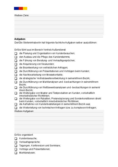 Auszug aus Vorlage für eine klar strukturierte Stellenbeschreibung für eine/n Verkäufer/in im Außendienst zum günstigen Download.