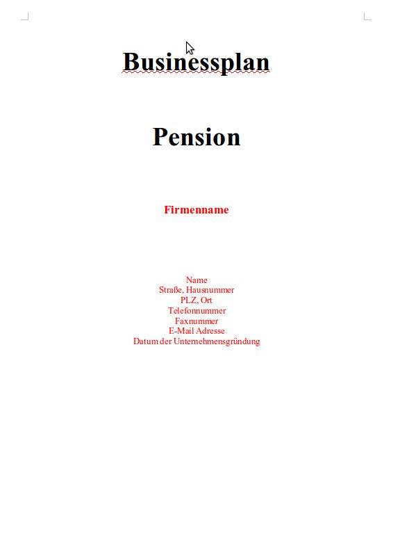 Mit dieser Vorlage können Sie einen für eine Pension erstellen.