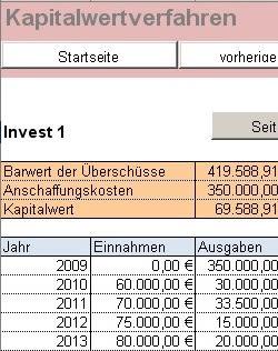 Den internen Zinsfuß oder den Kapitalwert Ihres Vorhabens zu errechnen geht mit dem RS-Investitionsrechner leicht von der Hand. Jeweils zwei Investitionsvorhaben lassen sich gegenüberstellen und vergleichen.