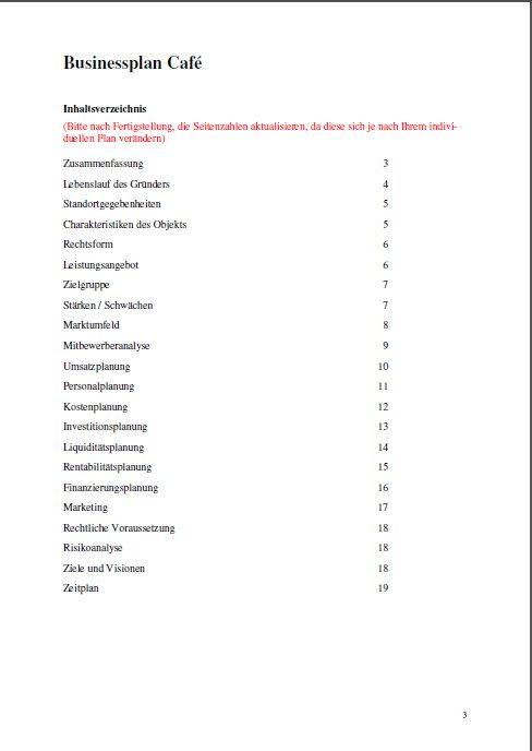 Übersichtliche Gliederung Ihres professionellen Businessplans.