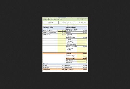 Übersichtlicher Plan für die Verwaltung Ihrer Lagerkosten.