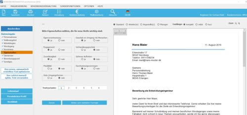 Hier werden die wichtigsten Daten für Ihre Bewerbung eingetragen und gespeichert.