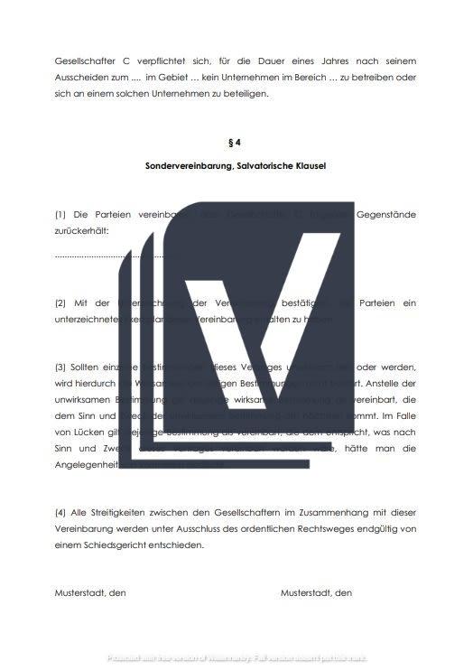 Muster-Vereinbarung Ausscheiden eines Gesellschafters GbR