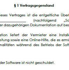 Vertragsgegenstand im Software-Mietvertrag.