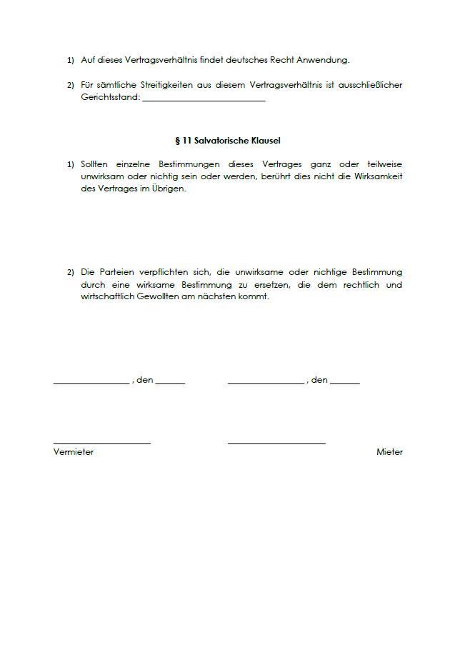 Regelung zum anwendbaren Recht/Gerichtsstand und salvatorische Klausel im Software-Mietvertrag.