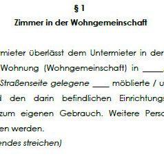 Grundsätzliche Bestimmungen im Untermietvertrag für ein WG-Zimmer.