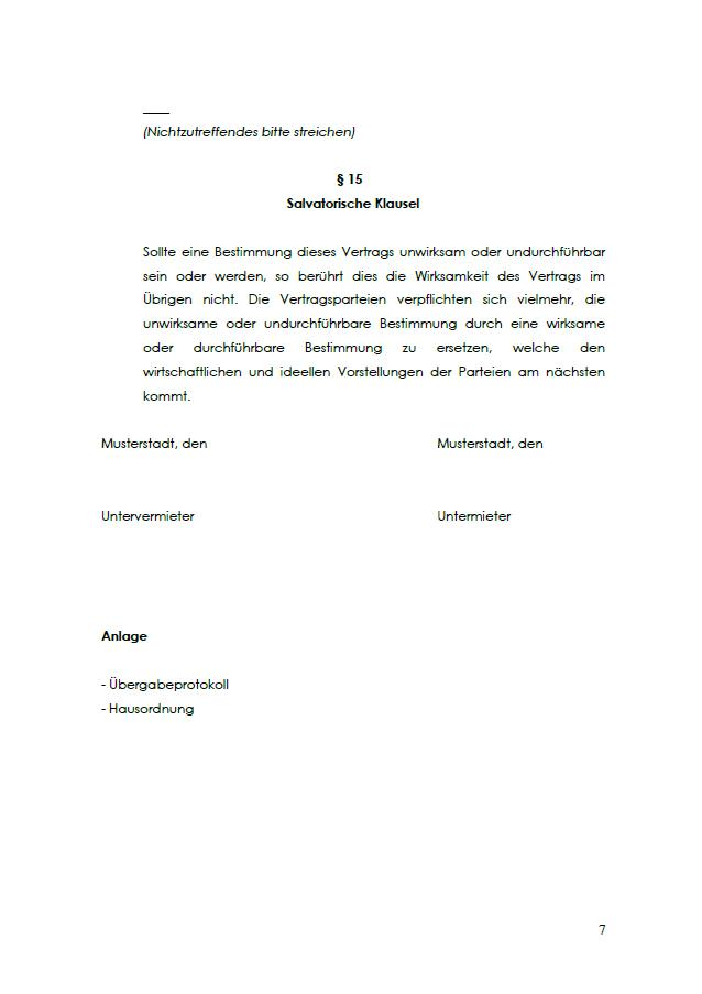 Salvatorische Klausel im Untermietvertrag für ein WG-Zimmer.