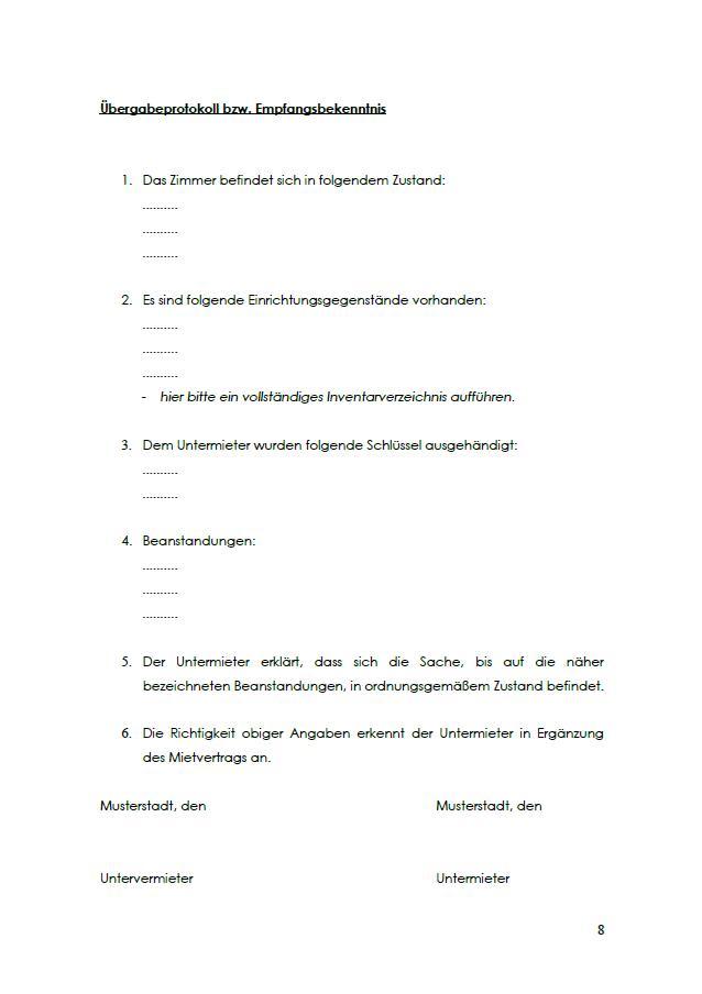 Erste Seite des Übergabeprotokolls im Untermietvertrag für ein WG-Zimmer.