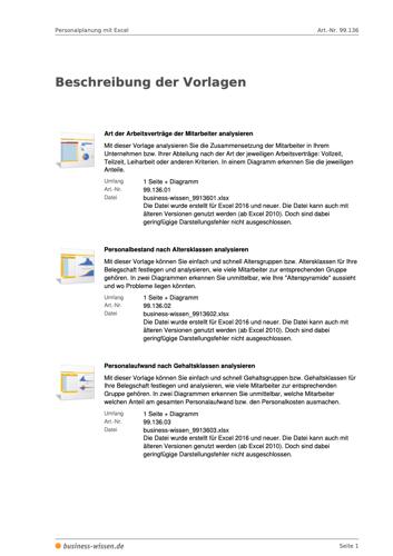 Personalplanung mit Excel Beschreibung