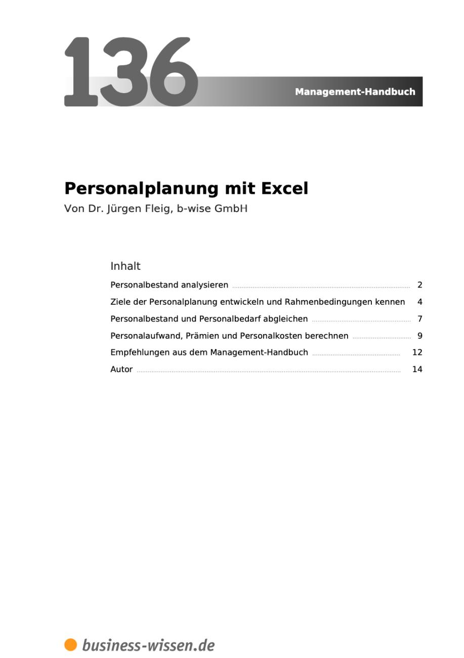 Personalplanung mit Excel Inhalt