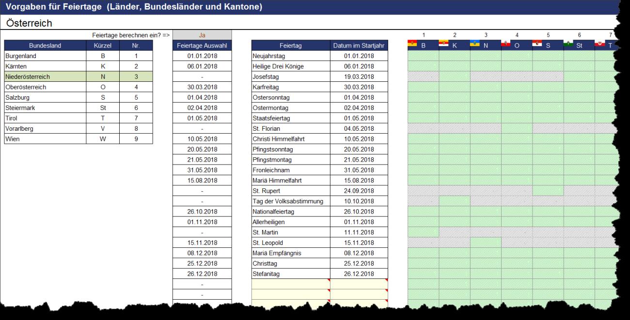 Darstellung und Berechnung von Feiertagen für Österreich im Excel-Tool Projektplanung