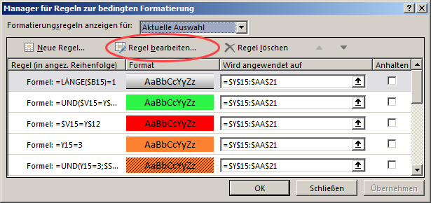 Bearbeitung von Regeln im Excel-Tool