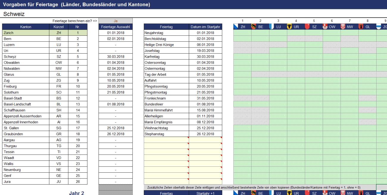 Darstellung und Berechnung von Feiertagen in der Schweiz im Projektplanungstool