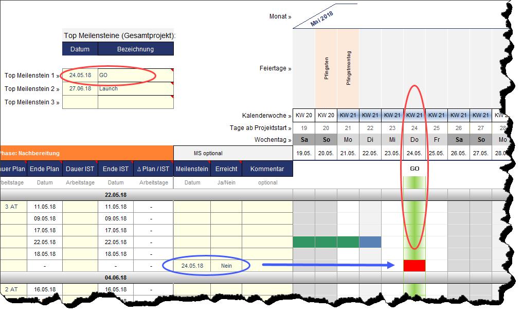 Festlegung und Betitelung der Top Meilensteine im Excel-Tool