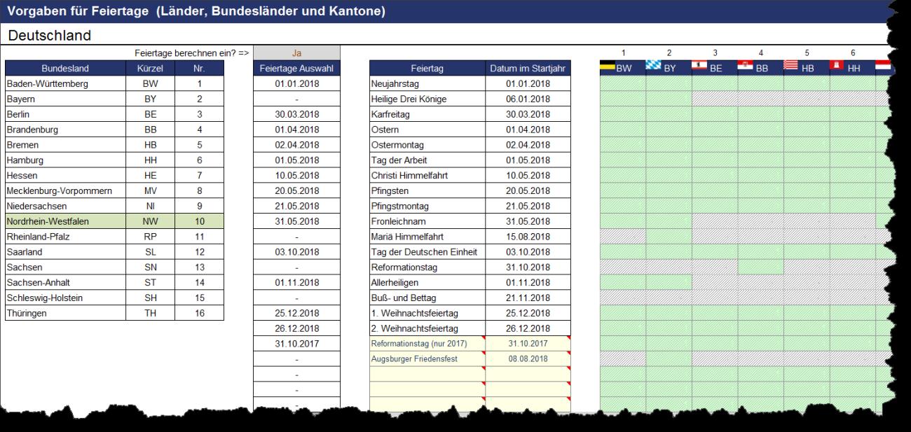 Darstellung und Berechnung von Feiertagen für Deutschland im Projektplanungstool