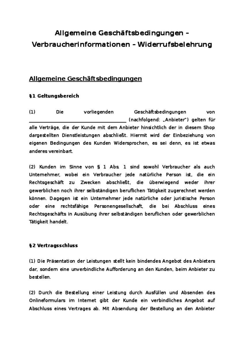Einblick in das Dokument: Allgemeine Geschäftsbedingungen mit entsprechenden Paragraphen