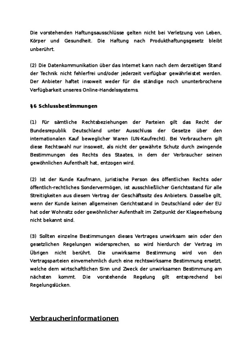 Einblick in das Dokument: Schlussbestimmungen und Verbraucherinformationen