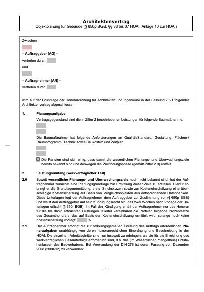 Architektenvertrag für die Objektplanung von Gebäuden