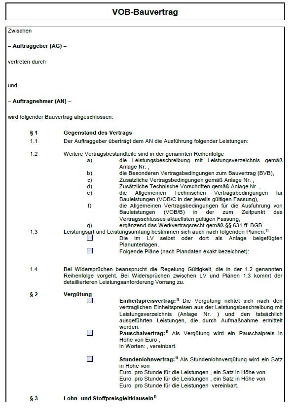 Einsicht in das Hauptdokument des VOB-Bauvertrages.