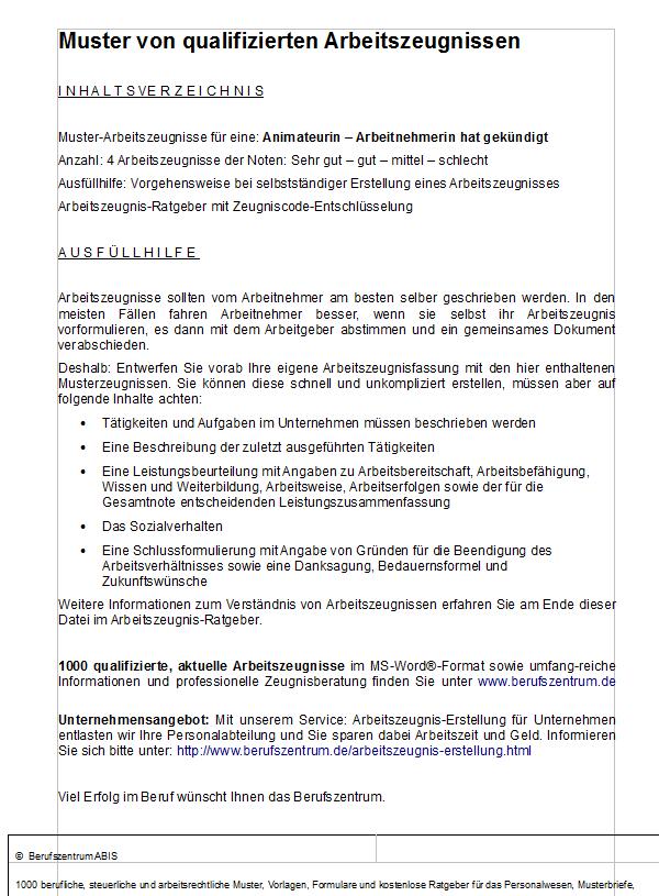 Anischt des Inhaltsverzeichnisses der Mustervorlage.