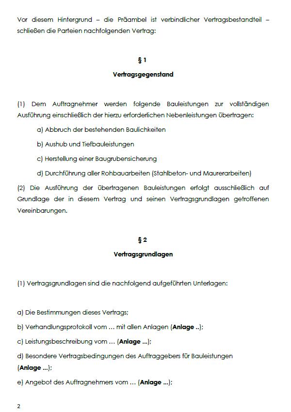 Beispielhafte Einsicht in den BGB Bauvertrag für Pauschalpreis und Eigenleistungen mit dem Aufzeigen von §1 Vertragsgegenstand und §2 Vertragsgrundlagen.