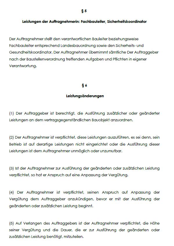 Illustration von §5 Leistungen der Auftragnehmerin: Fachbauleiter, Sicherheitskoordinator und §6 Leistungsänderungen, des BGB-Bauvertrages für Einheitspreise.