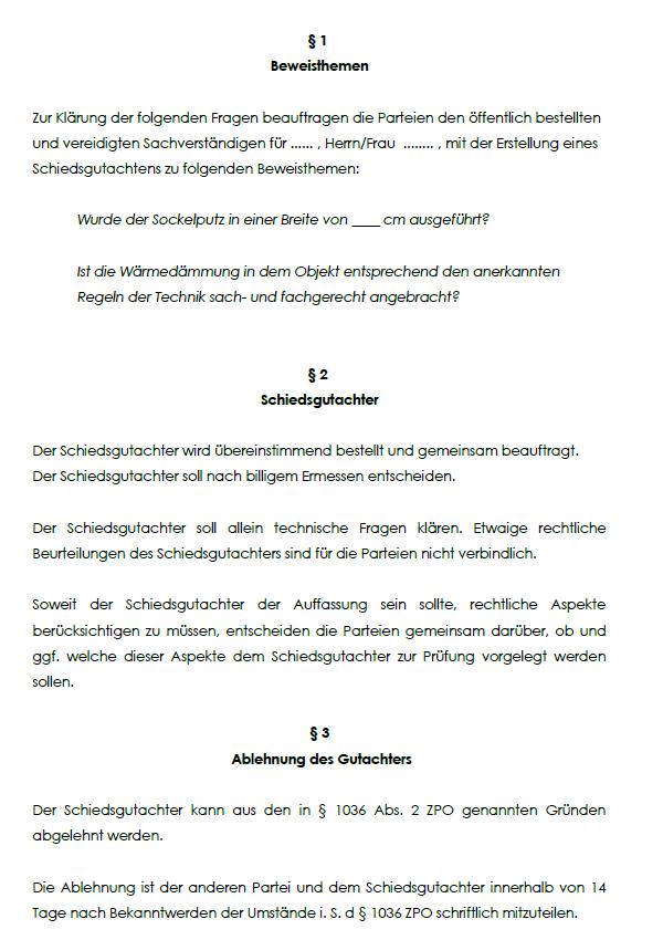 Musterhaftes Schaubild aus der Schiedsgutachtenvereinbarung mit einer Auflistung von Paragraphen.