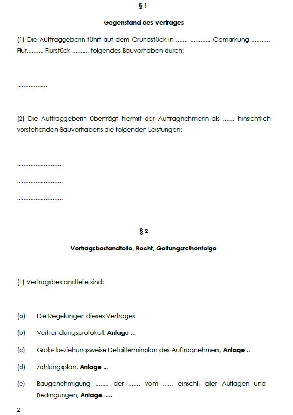 Beispielhafte Einsicht in einen VOB-Bauvertrag für Einheitspreisbildung mit dem Aufzeigen von §1 Vertragsgegenstand und §2 Vertragsbestandteile, Recht und Geltungsreihenfolge.