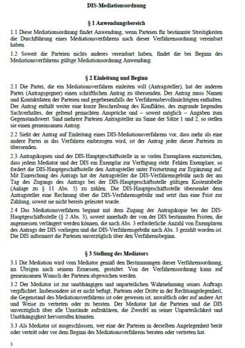 Auszug aus der DIS Mediationsordnung aus der Mediationsvereinbarung mit allen notwendigen Paragraphen.