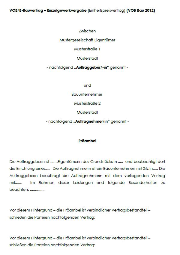 Darstellung von einem Deckblatt von einem VOB-Bauvertrag für Einzelgewerkvergabe/Einheitspreisvertrag