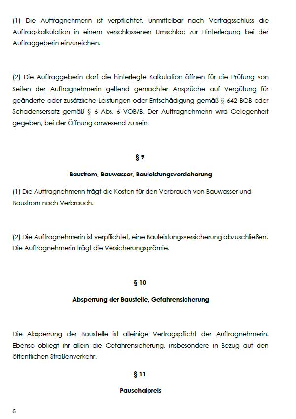Illustration von §9-11des Generalunternehmervertrages