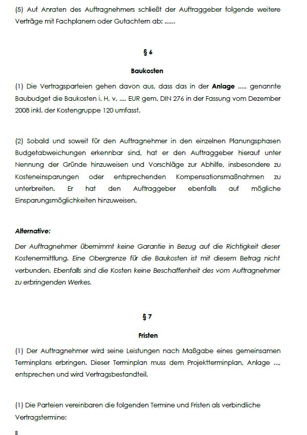 Abbildung von §6 Baukosten und §7 Fristen des Architektenvertrages Vollarchitektur Pauschalpreis
