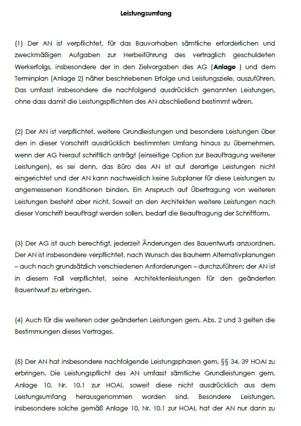 Einsicht in der §3, der den Leistungsumfang im Architektenvertrag für Vorplanung bestimmt