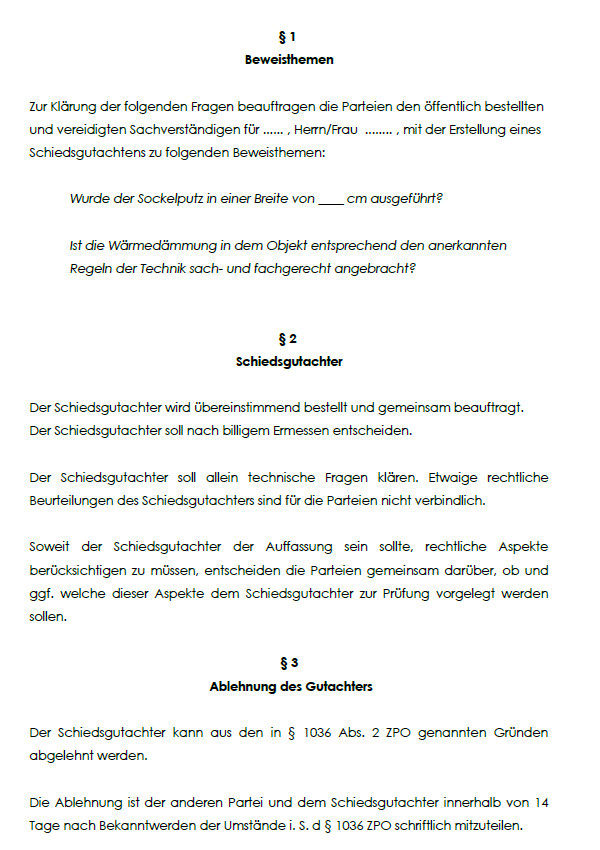 Musterhaftes Schaubild zur Schiedgutachtenvereinbarung mit einer Auflistung von Paragraphen