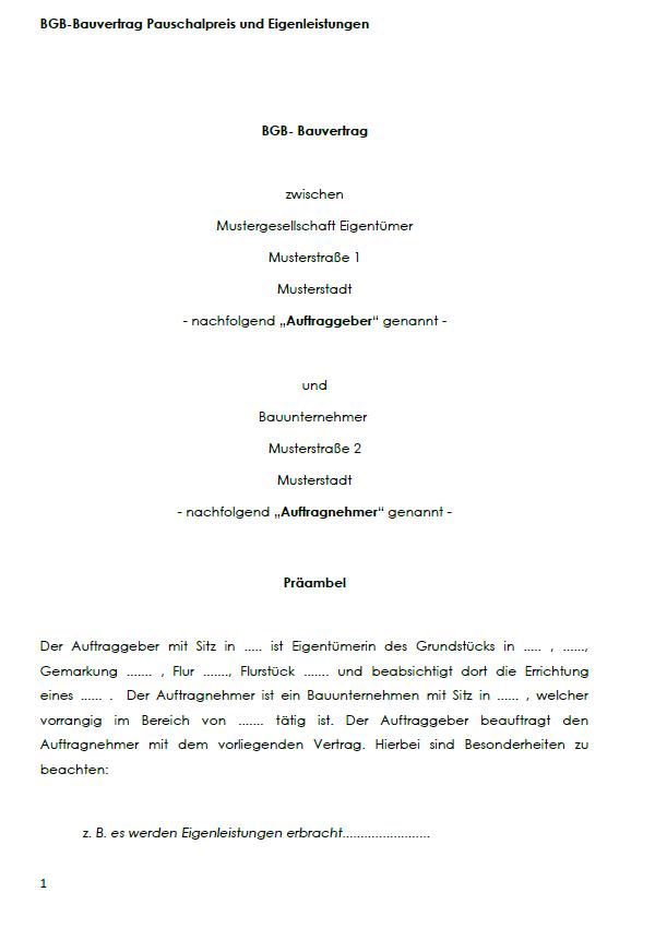 Darstellung von einem Deckblatt von einem BGB-Bauvertrag für Pauschalpreis und Eigenleistungen