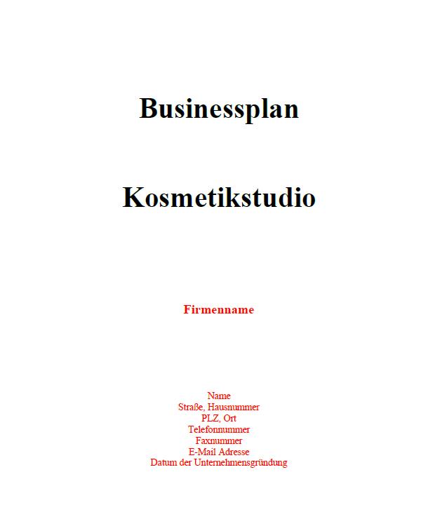 Mit dieser Vorlage können Sie einen Businessplan für ein Kosmetikstudio erstellen