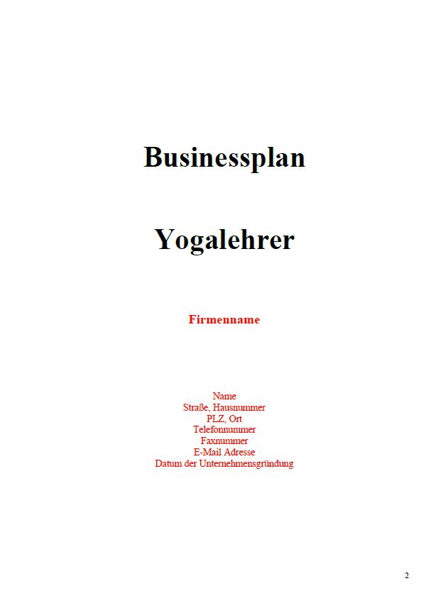 Mit dieser Vorlage können Sie einen Businessplan für einen Yogalehrer erstellen