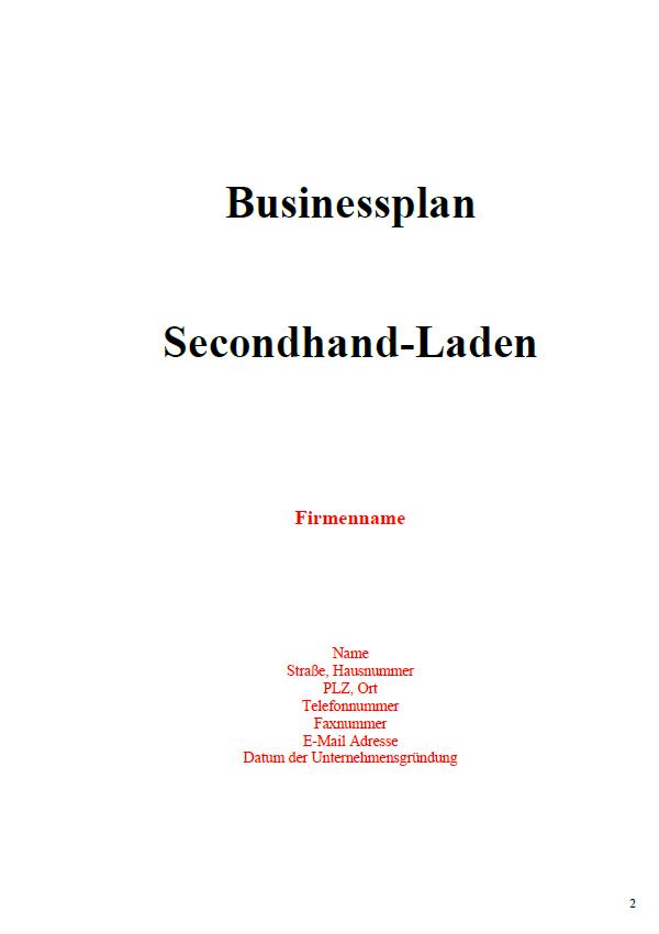 Mit dieser Vorlage können SIe einen Businessplan für einen Secondhand-Laden erstellen