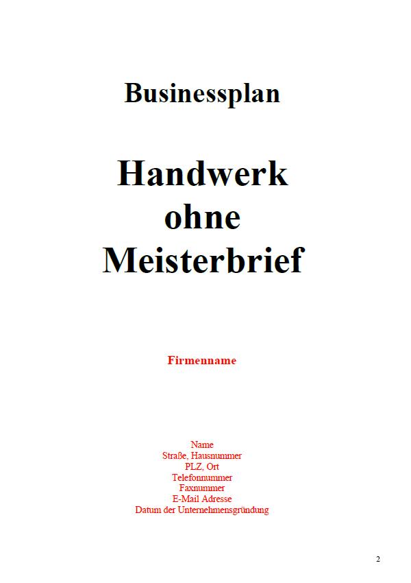 Mit dieser Vorlage können Sie einen Businessplan für einen Handwerker ohne Meisterbrief erstellen