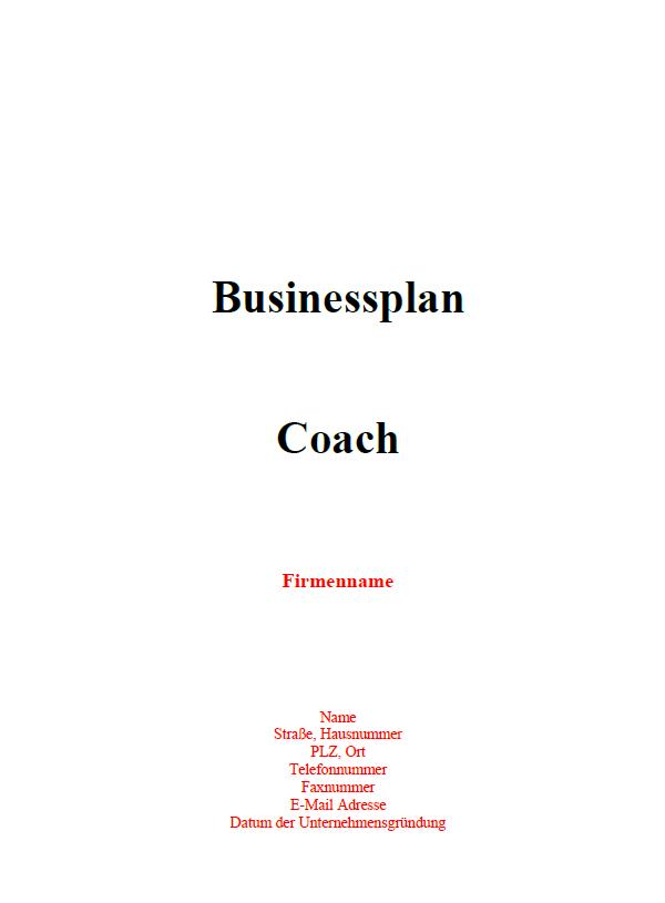 Mit dieser Vorlage können Sie einen Businessplan für einen Coach erstellen