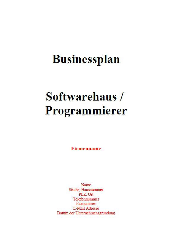 Mit dieser Vorlage können Sie einen Businessplan für einen Programmierer erstellen
