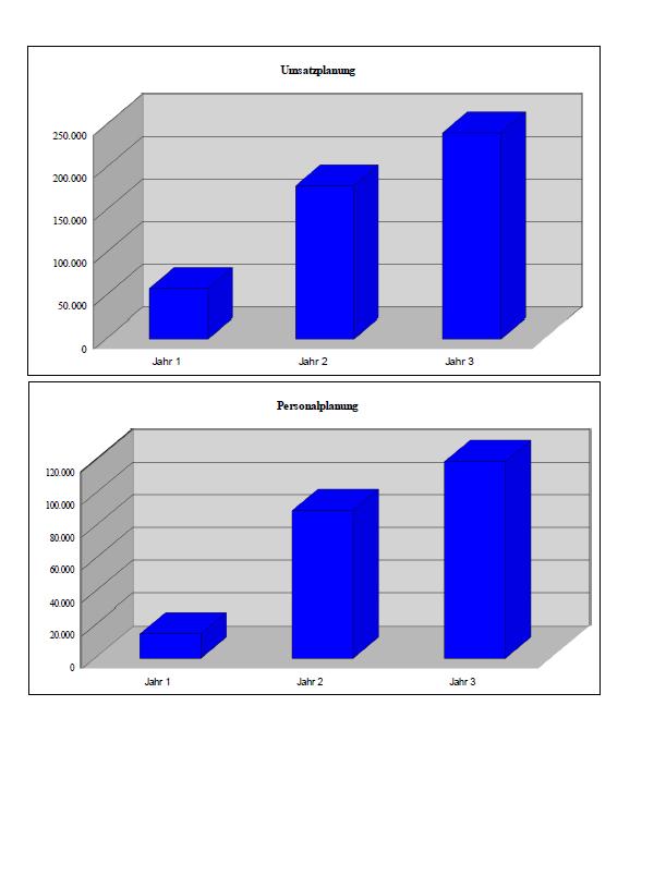 Grafische Darstellung der Umsatz- und Personalplanung